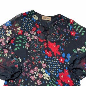 Karen Zambos Black Floral Print Long Sleeve Tunic